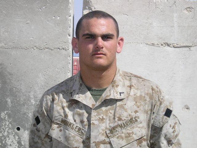 Pfc Jordan Winkler shortly after arriving in Iraq.